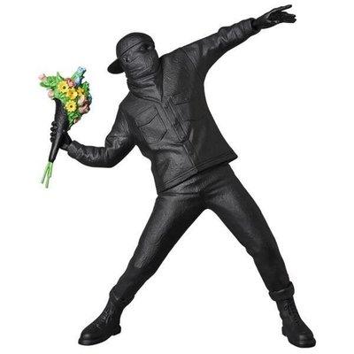 正品 日本 展覽 限定 MEDICOM TOY EXHIBITION FLOWER BOMBER BANKSY  黑色 磨砂 丟花人 限量 商品