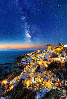 日本進口拼圖專賣店_1000片拼圖 攝影風景 聖托里尼島上繁星點點的天空 51-260