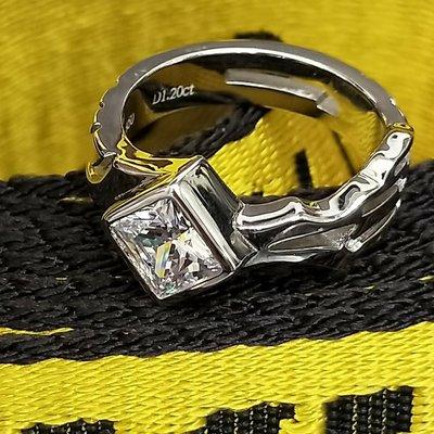 罪惡王冠戒獨特1.2克拉鑽戒簡約男女遊戲款對戒鑽戒925純銀鍍鉑金指環 鑲嵌高碳鑽中性戒指 精工高碳仿真鑽石  FOREVER莫桑鑽寶
