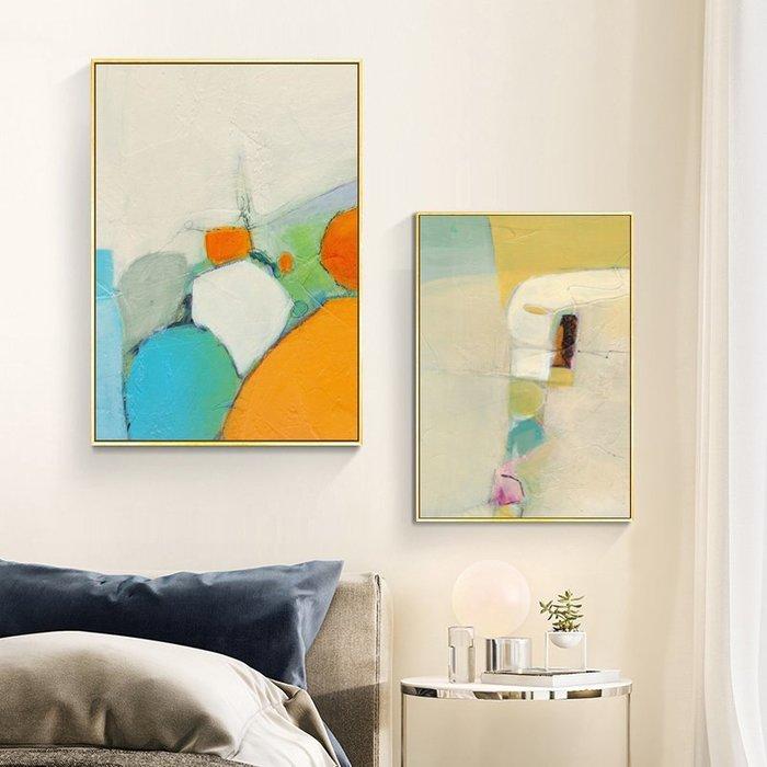現代簡約抽像三聯美森色系莫蘭迪裝飾畫畫芯微噴打印掛畫壁畫(3款可選)