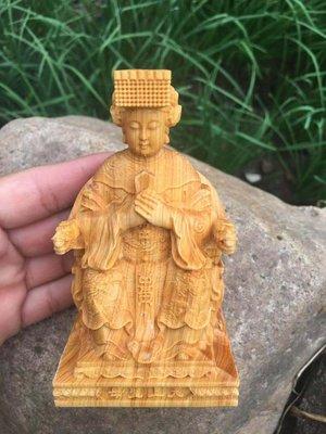崖柏木朝天媽祖 天上聖母 神像木雕擺件