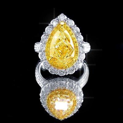 【LOVES鑽石批發】GIA證書 3.05克拉 天然黃色彩鑽戒指 Fancy Light Yellow 耀眼金黃/LOVES DIAMOND/婚戒 對戒 粉鑽
