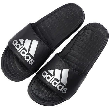 【鞋印良品】adidas 愛迪達 OLOOMIX SLIDE 運動拖鞋 泡棉 黑銀 復刻字 復古 海灘拖 AQ5897