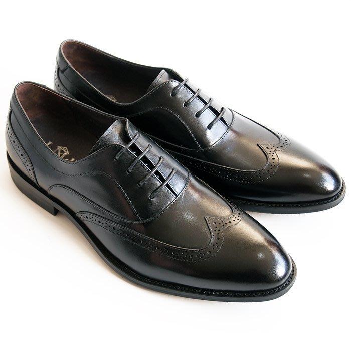 超值系列翼紋雕花牛津鞋:小牛皮真皮木跟皮鞋男鞋-黑色-免運費-[LMdH直營線上商店]D1A28-99