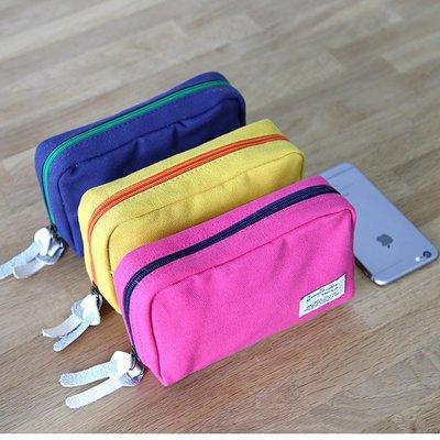 韓櫥服飾~帆布共和國CR72化妝包小號 韓國布兒童筆袋分層大容量簡約筆袋