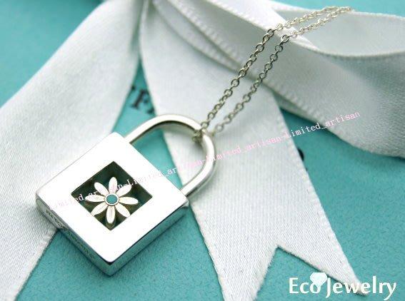 《Eco-jewelry》【Tiffany&Co】稀有款 藍色小花鎖頭項鍊 純銀925項鍊~專櫃真品已送洗