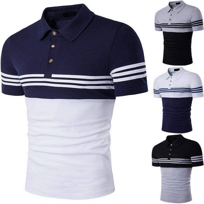 『潮范』 WS5 外貿新款歐美風上下撞色條紋POLO衫 翻領短袖T恤 條紋T恤 短袖POLO衫NRG522