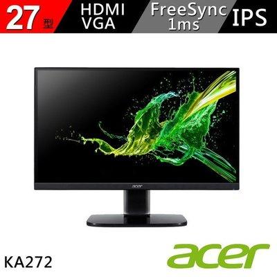 (一律附發票)Acer宏碁KA272 27吋極速1ms IPS面板窄邊框不閃屏瀘藍光電競螢幕可壁掛無喇吧