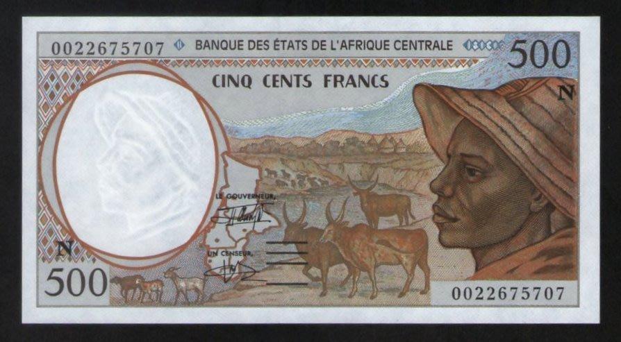 wp012,中非聯邦赤道幾內亞 500 Fr,#P501n,UNC。