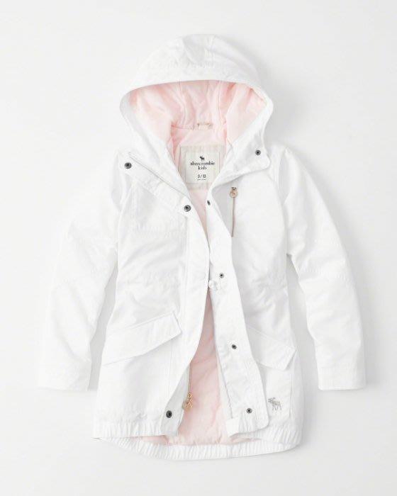 Maple麋鹿小舖 abercrombie&fitch * a&f  女童款白色防風長版外套* ( 現貨15/16號 )