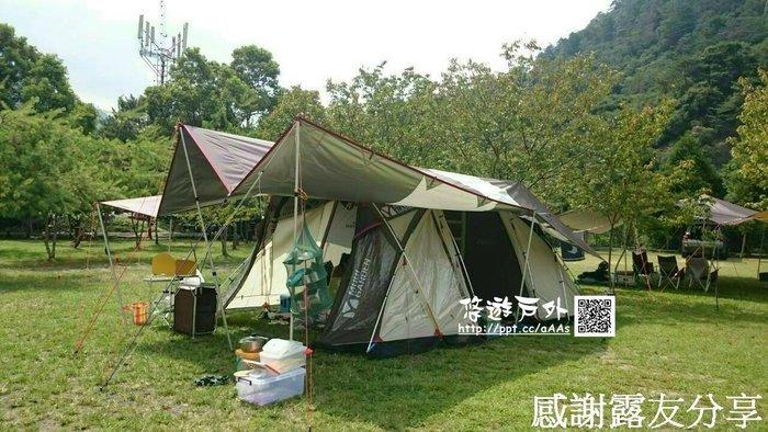【悠遊戶外】保證高品質 Camp Plus 210D 5x8 白棕色雙層銀膠長方形天幕 銀膠天幕 氣候達人版 超強不透光
