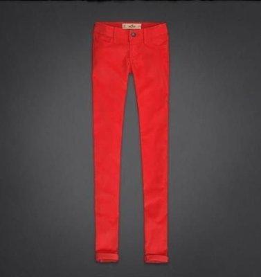 美國女裝HOLLISTER JEGGING 紅珊瑚礁色3號窄管細腿翹臀顯瘦必備彈性休閒褲含運在台