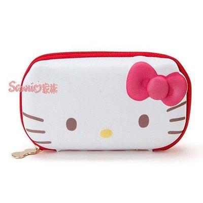 《東京家族》日本正版 KITTY 凱蒂貓 硬殼眼鏡盒(最外部軟質PU)  收納盒 拉鍊式附可愛垂飾