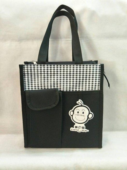 @【 乖乖的家】~~(保證最低價)豆豆猴餐袋/書包/手提袋/便當袋~~(超低價100元 )中  黑色