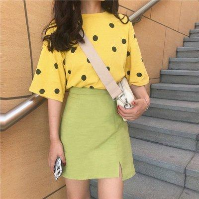 夏季新款韓版可愛波點短袖T恤+時尚百搭不規則開叉半身裙套裝女潮