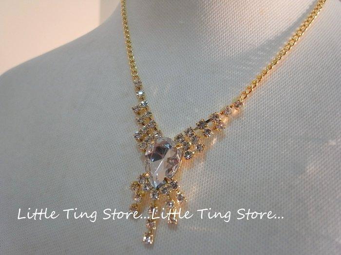 Little Ting Store: 母親節禮物婚禮晚宴 拜占庭風V行流蘇白水鑽金色底短項鍊串鏈頸鍊鎖骨鍊 婚禮晚宴