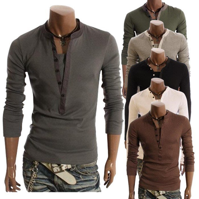 『潮范』  N4 韓版假兩件套開長筒休閑長袖T恤 素面T恤 打底衫 棉質T恤 潮T恤