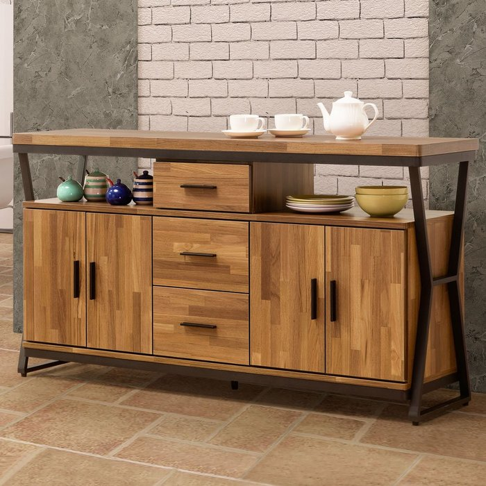 愛德琳工業風5尺餐櫃 碗盤收納櫃 置物櫃【Yostyle】CB-1723-224