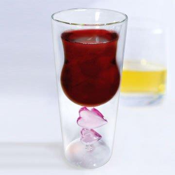 《創意禮物》愛心雙層紅酒杯 ~ 杯中杯的雙層設計!  降價優惠 ~香檳杯/玻璃杯