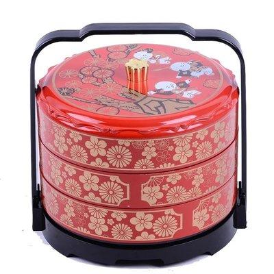 中式紅色新年家用三層糖果盒干果盒客廳創意糖果盤干果盤喜糖盒子