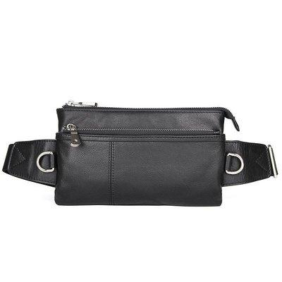 腰包真皮肩背包-薄款牛皮黑色方型男包包73vx8[獨家進口][米蘭精品]