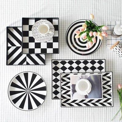 〖洋碼頭〗北歐裝飾黑白摩登幾何紋茶具託盤圓形方形茶盤托餐桌飾品 shx454