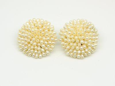 天然淡水珍珠 35mm手工編織花 夾式...