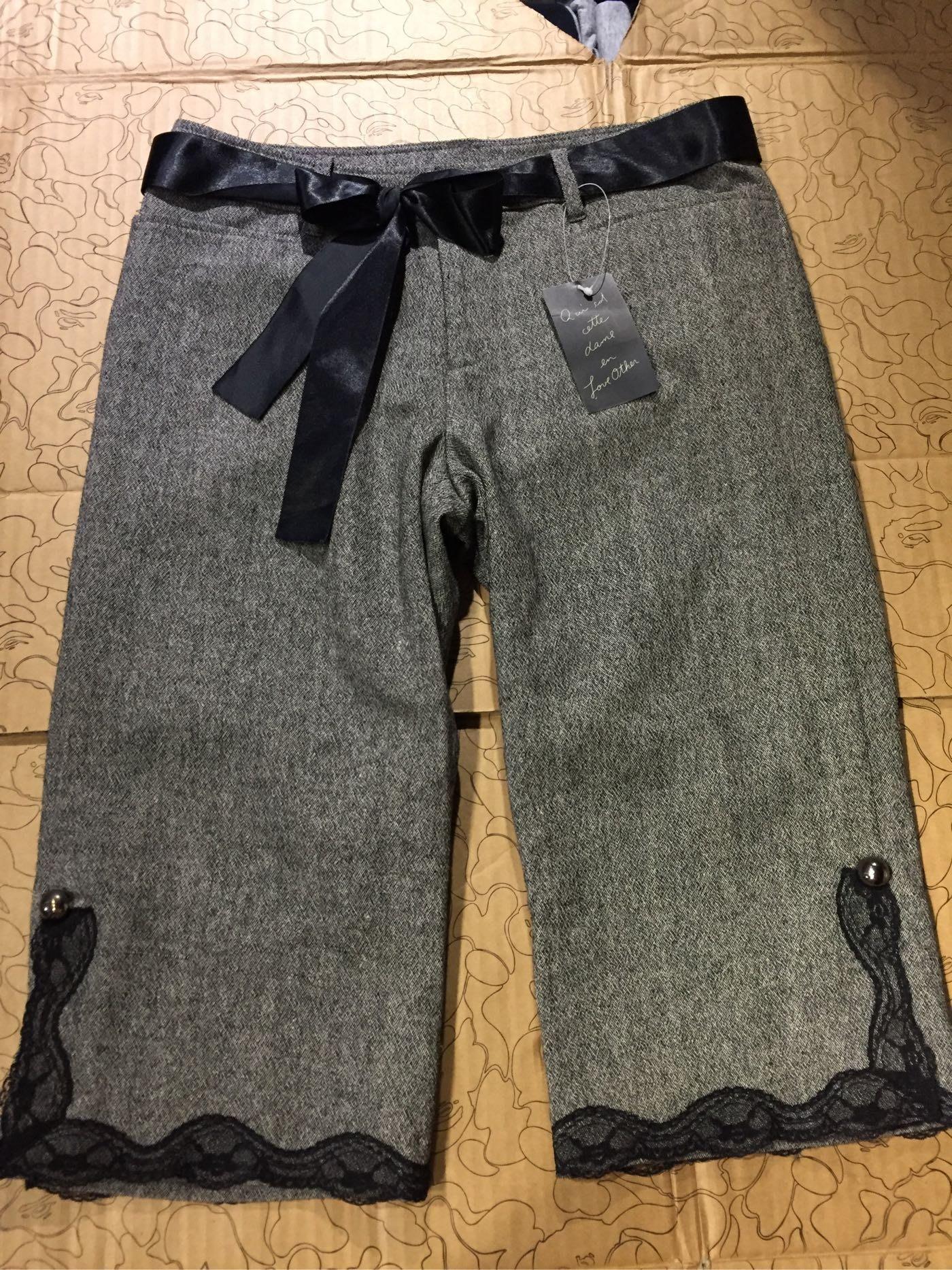 [變身館日本服飾] ~Love other~七分褲~蕾絲~直筒~毛料~日本購入~全新現品~M~出清價