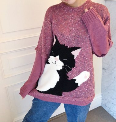 日本卡拉貓~Kuro嗨嗨質感拼接毛衣...