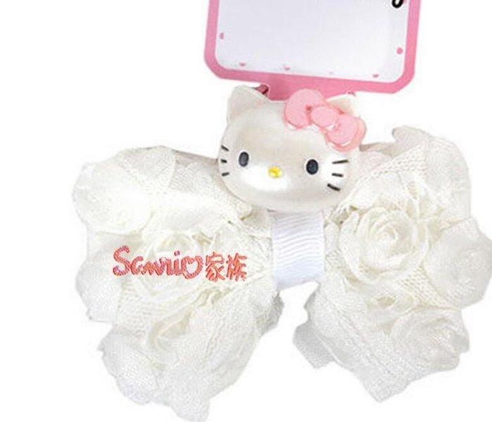 HELLO KITTY兒童髮飾 玫瑰網紗布面緞帶搭配人物造型飾物髮束
