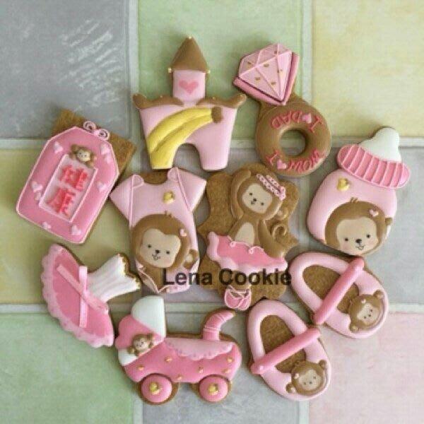 可接急單 收涎餅乾 猴寶寶系列 10片 女寶寶  糖霜餅乾 生日禮物 手工餅乾 不挑款(Lena Cookie)