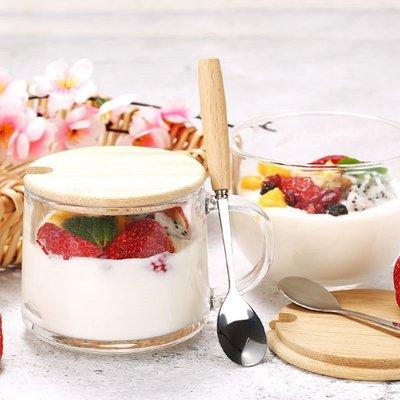 禧禧雜貨店-大容量日式馬克杯早餐杯帶蓋勺牛奶杯果汁杯玻璃燕麥杯家用咖啡杯#新款