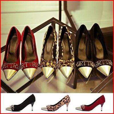 跟鞋*鞋館Shoes hall*【A5503】街頭品味~字母拼接百搭尖頭高跟鞋~3色~