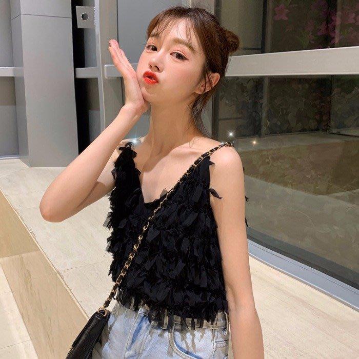 韓版 平口T恤 一字肩 內搭小吊帶流蘇打底無袖背心女小心機黑色性感鎖骨上衣外穿潮