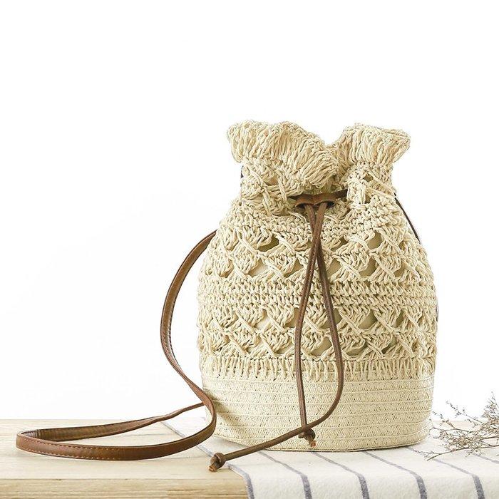 店長推薦新款水桶草編包 夏日度假編織包 沙灘包  休閒  包 單肩包 女包 編織包 側背包 斜背包 出行必備