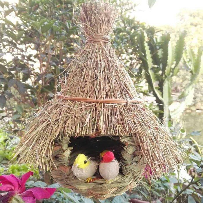 草編鳥巢 中號鳥窩 小鳥窩 花園裝飾