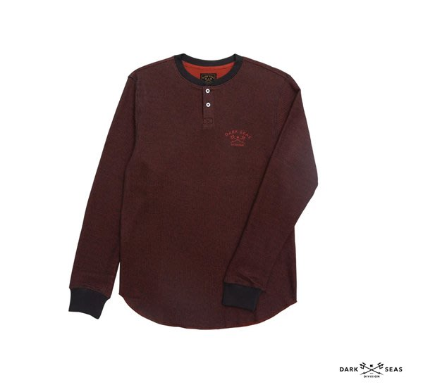 GOODFORIT / 美國Dark Seas T-Street Long Sleeve雙色紗線鎖鏈車縫亨利領上衣
