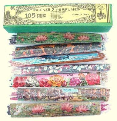 [綺異館]印度香 7 芬芳 量販裝 105支 Singh incense 7 perfumes 線香 薰香