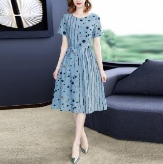 棉麻洋裝 貴夫人媽媽棉麻連身裙女裝2020新款夏鬆緊腰氣質名緩裙子 站CXZJ