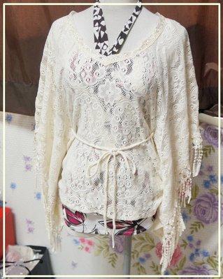 *瘋日本出清*東京帶回 女裝上衣-CECIL McBEE 民俗風 米白 彈性蕾絲罩衫- 特價480元