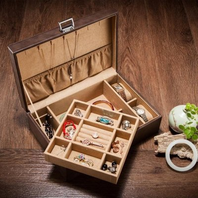 YEAHSHOP 夭桃(飾品)皮革雙層首飾盒皮質手錶珠寶手鐲收納收藏盒節日禮品817675Y185