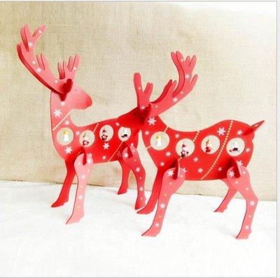 聖誕節裝飾品店鋪櫥窗桌面組裝鹿擺件 木質聖誕鹿回頭鹿聖誕禮品