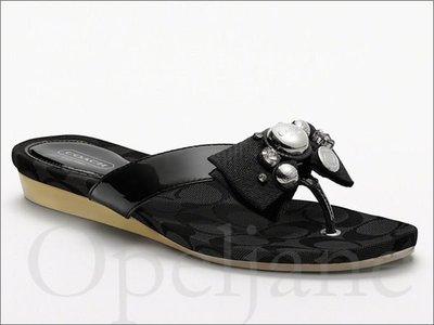 Coach Sandal Shoes 蝴蝶結平底人字夾腳鞋涼鞋子海灘鞋拖鞋 /黑色5號 22號 免運費 愛Coach包包
