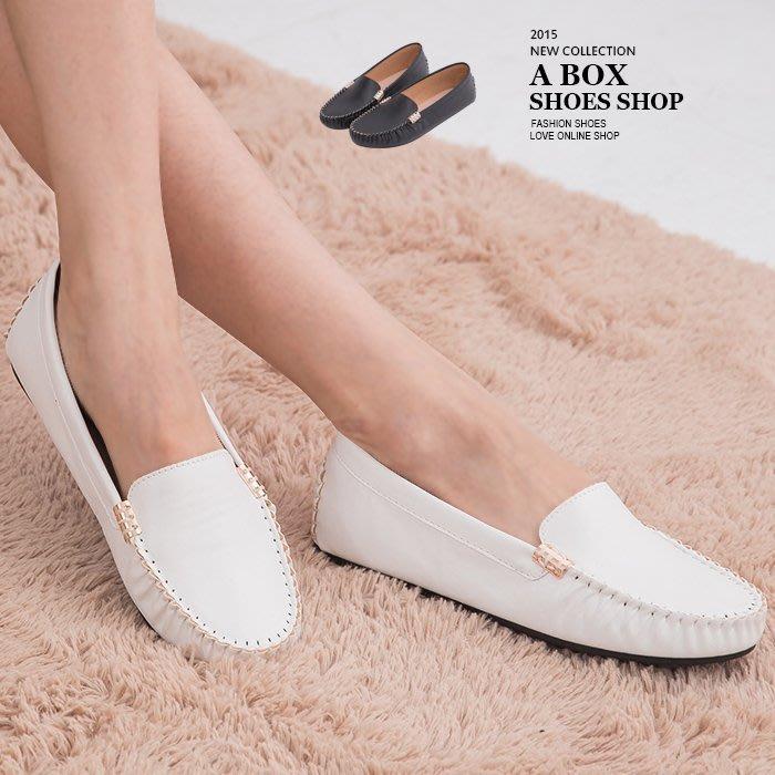 格子舖*【AI3919】MIT台灣製 基本款皮革素面金屬車線設計平底包鞋豆豆鞋 小白鞋 2色