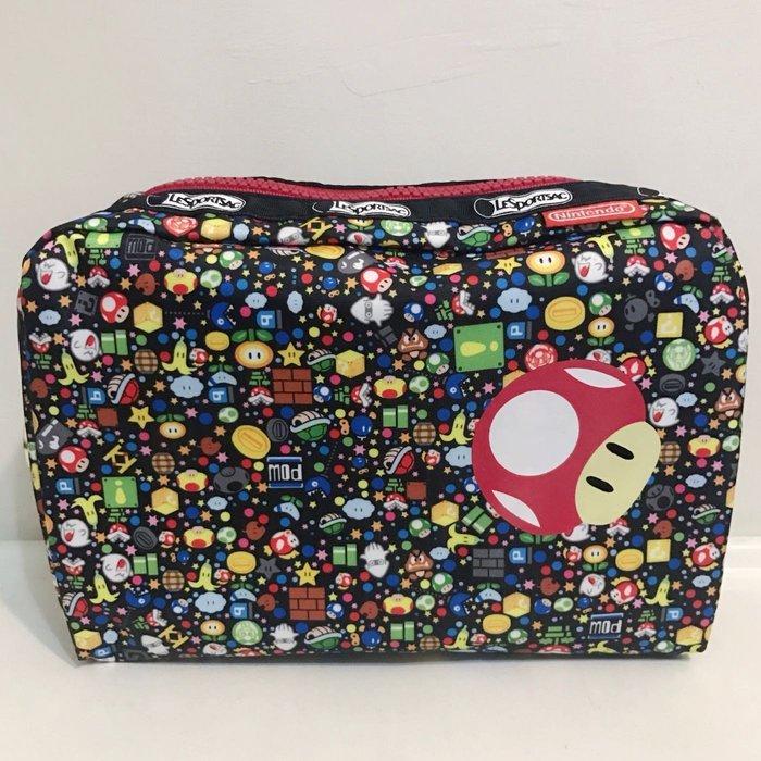 現貨 LeSportsac x Nintendo 瑪利歐 任天堂 化妝包夾層包收納包 7121  瑪麗歐