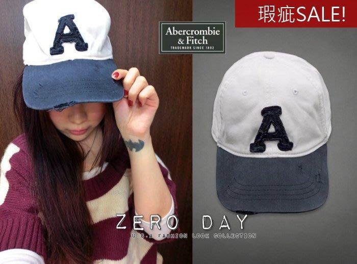 【瑕疵特賣】A&F真品Abercrombie&Fitch Heritage Baseball Cap字母刷破棒球帽藍白