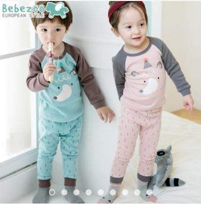 ❤現貨C138❤bebezoo韓國品牌男女寶寶家居服純棉舒適兩件套外貿韓版睡衣套裝(帶帽小熊-粉/藍))
