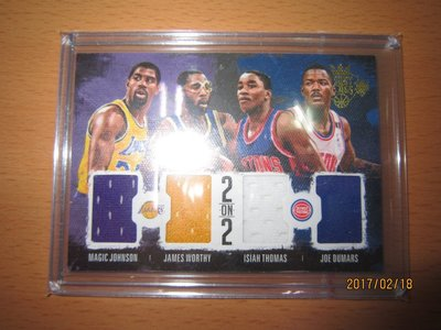 網拍讀賣~Magic Johnson/ James Worthy~傳奇球星~4人限量4格球衣卡/99~11/99~同背號
