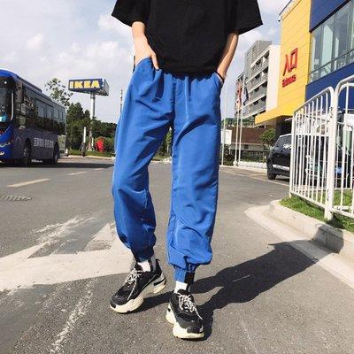 2018夏季新款原宿風bf寬松百搭學生情侶九分褲束腳褲 休閑褲女潮