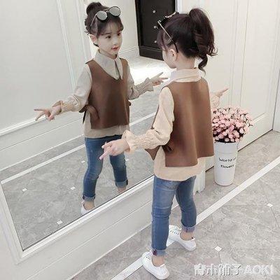 女童洋氣襯衫套裝新款韓版女孩長袖上衣春秋兒童時尚童裝